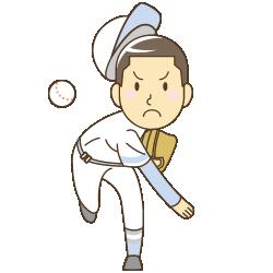 野球をする少年のイラスト
